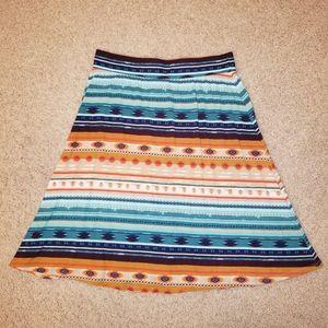 Cato Women's Aztec Tribal Print Midi Skirt EUC